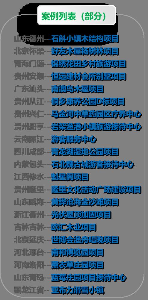 深圳木屋厂家木屋案例部分列表