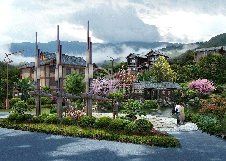 木屋建筑设计公司案例入口广场效果图